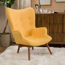 Christopher Knight Home Hariata Fabric Contour Chair, Muted Yellow