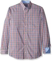 IZOD Men's Big and Tall Button Down Long Sleeve Stretch Performance Tattersal Shirt