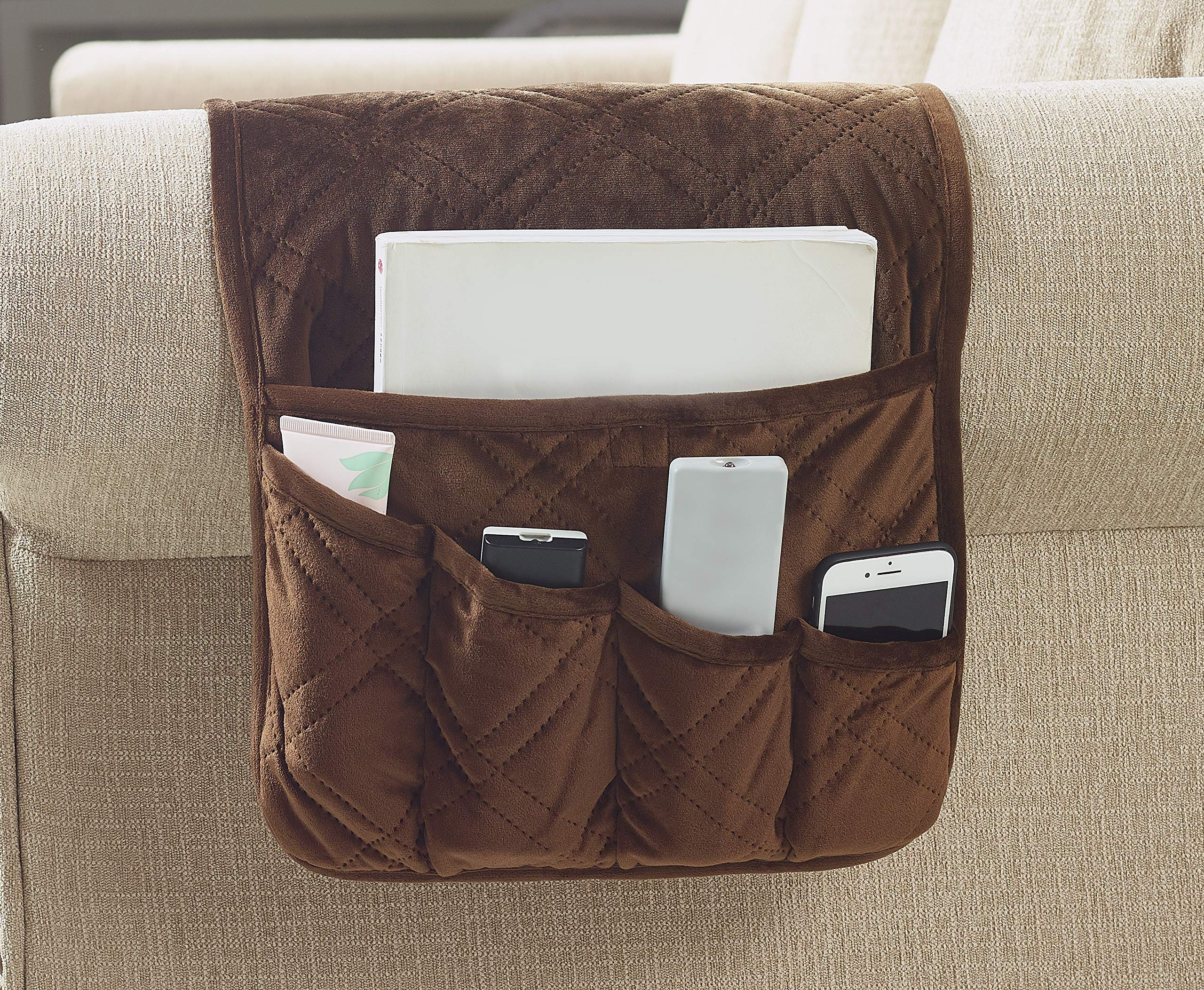 "Brilliant Sunshine Premium Silky Velvet Sofa Armrest 5 Pockets Organizer, Couch Chair Armrest Caddy, Slip Resistant, for TV Remote Control, Phone, Book, Glasses, Magazine, 35""×13"", Chocolate"