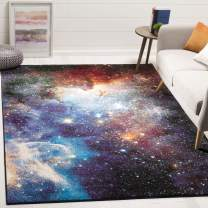 """Safavieh Galaxy Collection GAL109P Abstract Area Rug, 5' 3"""" Square, Purple/Multi"""