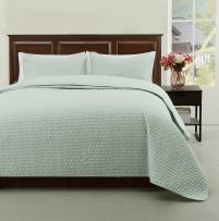 Cozy Beddings Madison 3pc Quilted Bedspread Ivory Cover Set, Light Weight and Oversized Coverlet Full/Queen, Green
