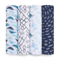 aden + anais Swaddle Blanket, Boutique Muslin Blankets for Girls & Boys, Baby Receiving Swaddles, Ideal Newborn & Infant Swaddling Set, Perfect Shower Gifts, 4 Pack, Gone Fishing
