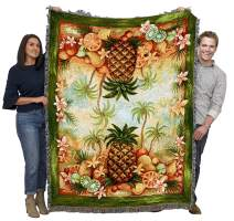 Pure Country Weavers Pineapples and Fruit Basket Blanket Throw Woven from Cotton Made in The USA 72x54