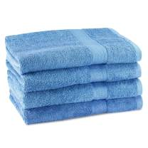 "CrystalTowels Premium Bath Towels – 4 Pack - 27"" x 54""- 600 GSM - 100% Virgin Ringspun Cotton - Soft & Absorbent for Home Hotel Spa or Gym (Blue)"