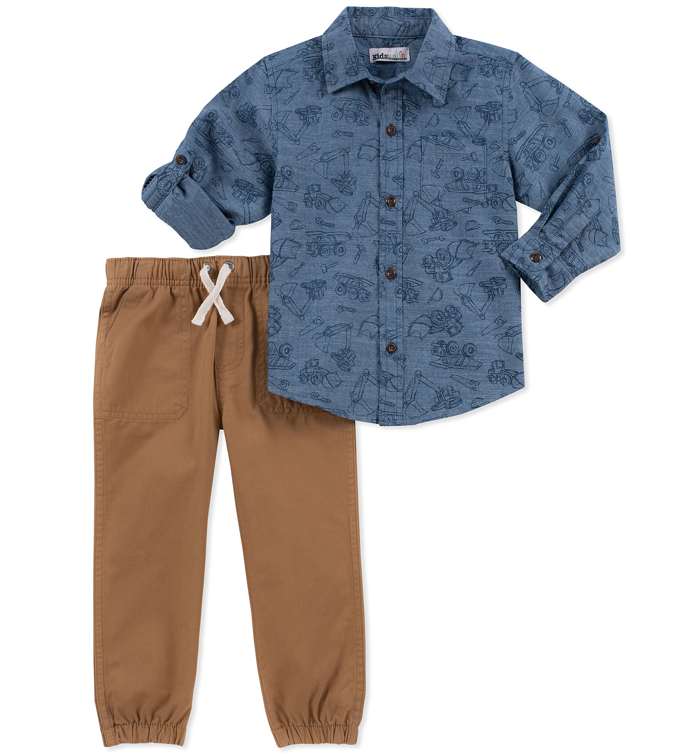 Kids Headquarters Baby Boys 2 Pieces Shirt Pants Set-Rolled Up Sleeves