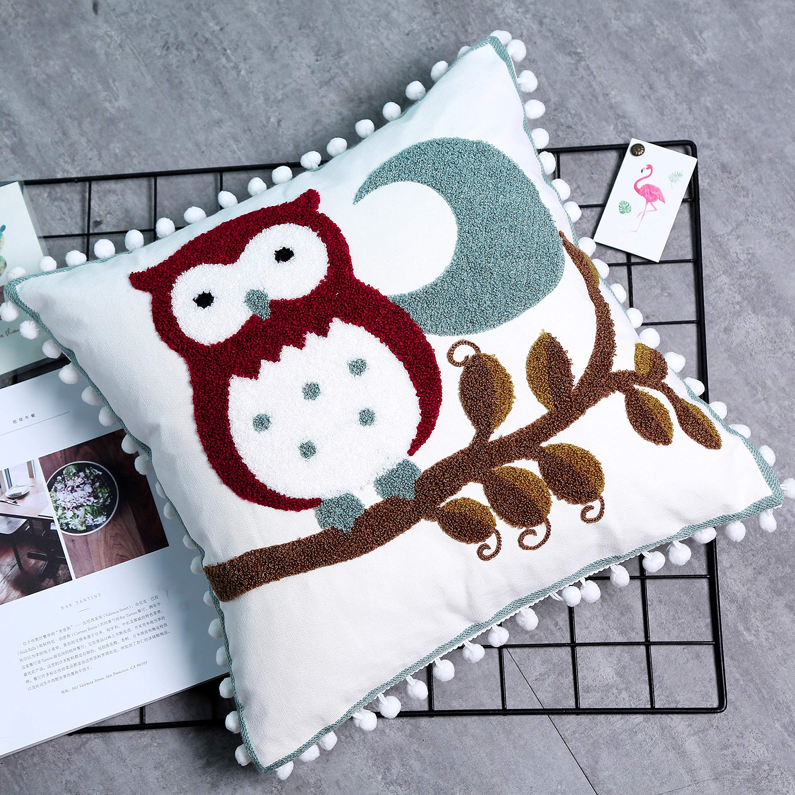"""TEALP Cute Decorative Throw Pillow Case Cotton Plain Color Cushion Cover with Pompom Trims Home Decor for Couch Sofa 18"""" x 18"""" Ball Fringe Set of 1,Night Owl"""