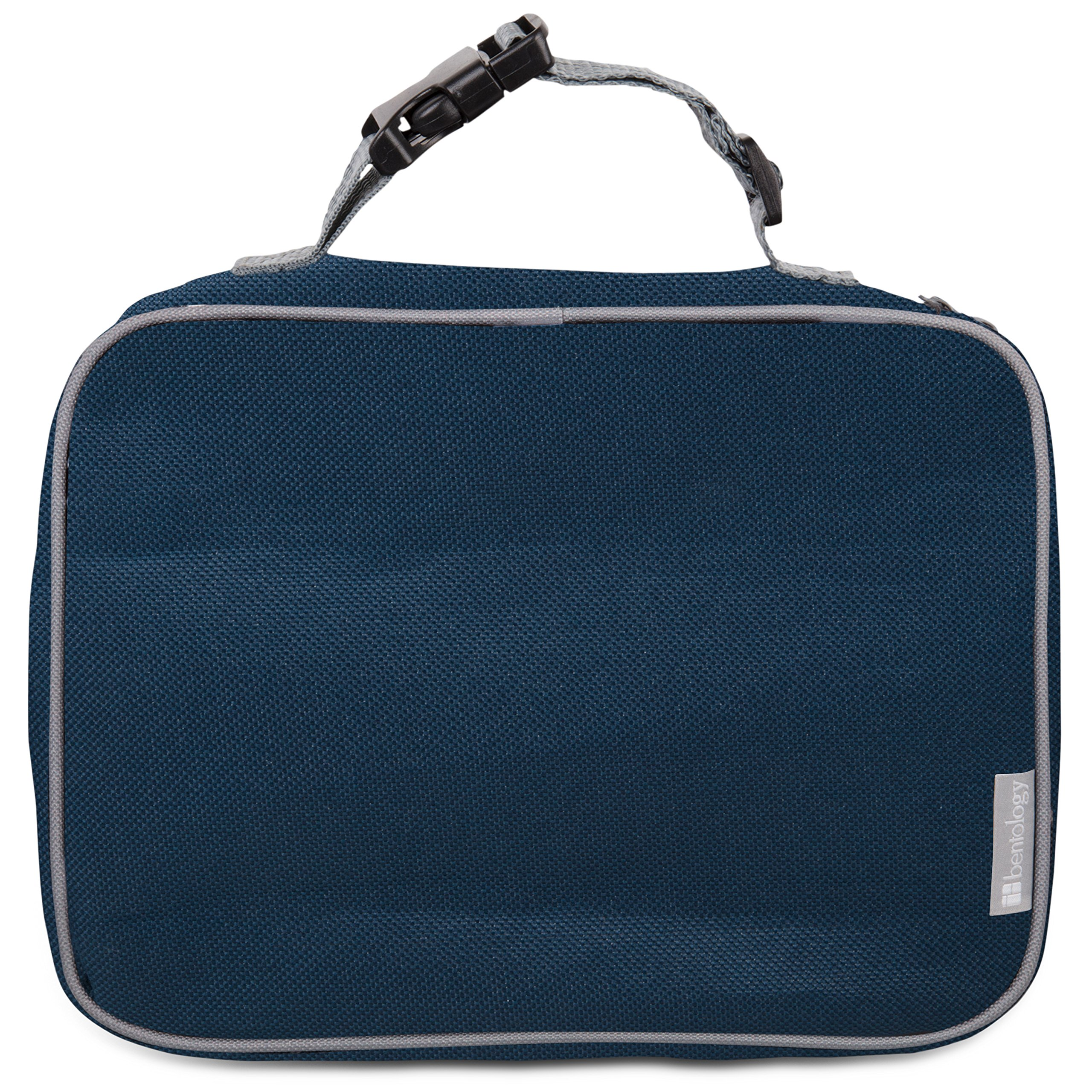 "Insulated Durable Lunch Box Sleeve - Portion Perfect Reusable Lunch Bag - Securely Cover Your Bento Box, Works with Bentology Bento Box, Bentgo, Kinsho, Yumbox (8""x10""x3"") - Blue/Gray"