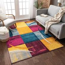 """Well Woven Fallon Purple Multicolor Modern Geometric Boxes Hand Carved 8x11 (7'10"""" x 9'10"""") Area Rug Easy to Clean Stain Fade Resistant Thick Soft Plush"""