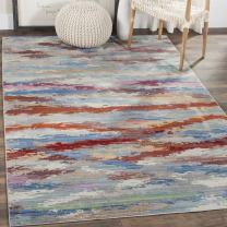Safavieh Valencia Collection VAL219K Multicolored Distressed Watercolor Silky Polyester Area Rug (9' x 12')