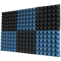 """Foamily 6 Pack - Ice Blue/Charcoal Acoustic Foam Sound Absorption Pyramid Studio Treatment Wall Panels, 2"""" X 12"""" X 12"""""""