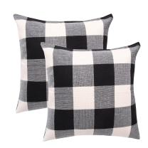 famibay Plaid Pillow Covers Square Tartan Checkers Cotton Linen Throw Pillow Cases Decorative Pillow Cushion Cover Set for Home Sofa Couch Bed 18X18 Inch Pack of 2
