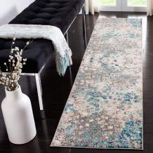 """Safavieh Madison Collection MAD425E Boho Abstract Distressed Non-Shedding Stain Resistant Living Room Bedroom Runner, 2'2"""" x 6' , Grey / Blue"""