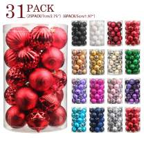 """Jusdreen 31pcs Christmas Balls Ornaments for Xmas Tree Shatterproof Christmas Tree Hanging Balls Decoration for Holiday Party Baubles Set with Hang Rope 1.97""""/2.75"""" Red"""