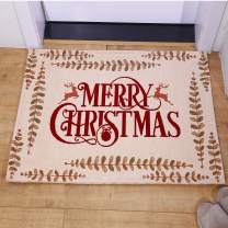 AMIDA Merry Doormats with Words and Reindeers Entryway Rugs 2'x3' for Home Decoration Indoor Outdoor Beige Anti Slip Backing Machine Washable