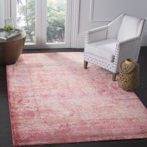 Safavieh Mystique Collection MYS920P Vintage Watercolor Overdyed Fuchsia and Multi Distressed Area Rug 6' x 9'