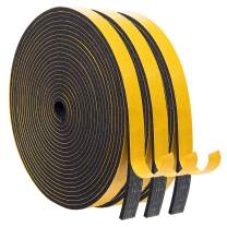 Foam Seal Strip-3 Rolls, 1/2 Inch Wide X 1/8 Inch Thick Self Adhesive Sponge Foam Weather Seal High Density Closed Cell Door Insulation Weather Stripping Tape Total 50 Feet Long(16.5ft x 3 Rolls)