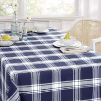 """SoHome Summer Holiday Buffalo Checkered Tablecloth, Stylish Festive Tablecloth, Stain Resistant/Machine Washable Polyester, 60""""x160"""" Rectangle Navy/White"""