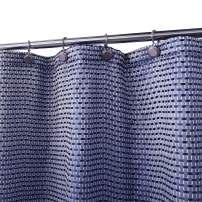 Amzdecor Navy Blue and White Geometric Waffle Fabric Shower Curtain for Bathroom,Water Resistant Spa Hotel Heavy Weighted Bathroom Decor Honeycomb Curtains,70 X 84 Inch,Blue