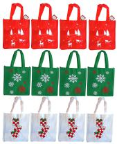"Non-Woven Reusable Fabric Bags (12 Pack) 12""x13""x8.25"", 3 Designs"