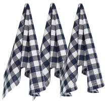 Ruvanti Kitchen Towels,Premium Quality (3 Pack-100% Cotton-20X30) Dish Towels/Bar Towels Soft, Absorbent Tea Towels Navy Blue & White Buffalo Check Plaid Lint Free Everyday Cooking Dish Cloths