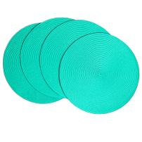 Benson Mills Victorian 15-Inch Round Placemats, Teal, Set of 4
