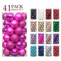 """Jusdreen 41pcs Christmas Balls Ornaments for Xmas Tree Shatterproof Christmas Tree Hanging Balls Decoration for Holiday Party Baubles Set with Hang Rope 1.57""""(Fuchsia 40mm)"""