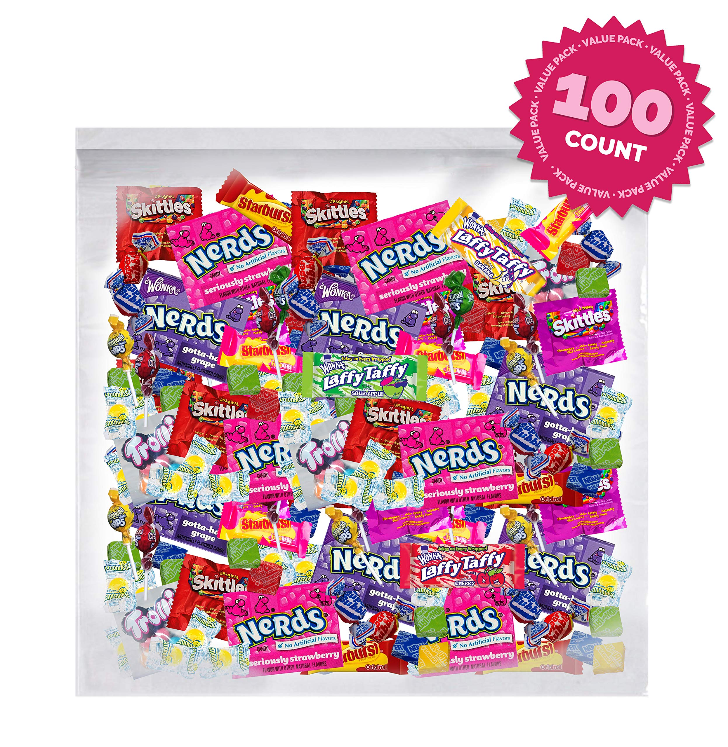 Bulk Assorted Fruit Candy - , Skittles, SweeTarts, Nerds,Trolli & lemonhead,bubble gum, (100 Piece Variety candy Pack) by Sweet Choice