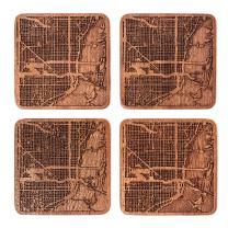 Miami Map Coaster by O3 Design Studio, Set Of 4, Sapele Wooden Coaster With City Map, Handmade