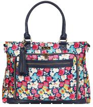 Itzy Ritzy Diaper Bag Tote – Large Capacity Tribe Tote Diaper Bag Featuring 25 Total Pockets, Changing Pad, Stroller Clips and Messenger Bag Strap, Posy Pop
