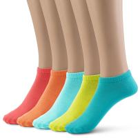Silky Toes Women's Low Cut Socks Super Soft Comfort Tab Multi-Colored Sport Running 5 Pack