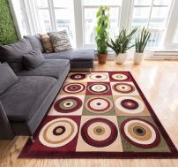 "Well Woven Downtown Circles Squares Multi Color Geometric 9x13 (9'3"" x 12'6"") Area Rug Modern Abstract Easy Care & Cleaning Shed Free Carpet"