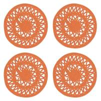 Now Designs 1039003aa Bloom Woven Round Placemets, Set of Four, Papaya Orange