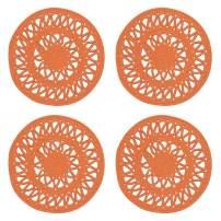 Now Designs 1039003aa Bloom Woven Round Placemets, Set of Four, Papaya Orange