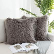 """Kevin Textile Merino Style Mongolian Decorative Faux Fur European Sham Throw Pillow Covers for Couch, Set of 2, 20""""x20""""(50x50cm), Grey"""
