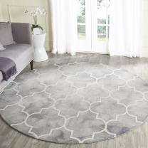 Safavieh Dip Dye Collection DDY535C Handmade Moroccan Watercolor Grey and Ivory Wool Round Area Rug (7' Diameter)