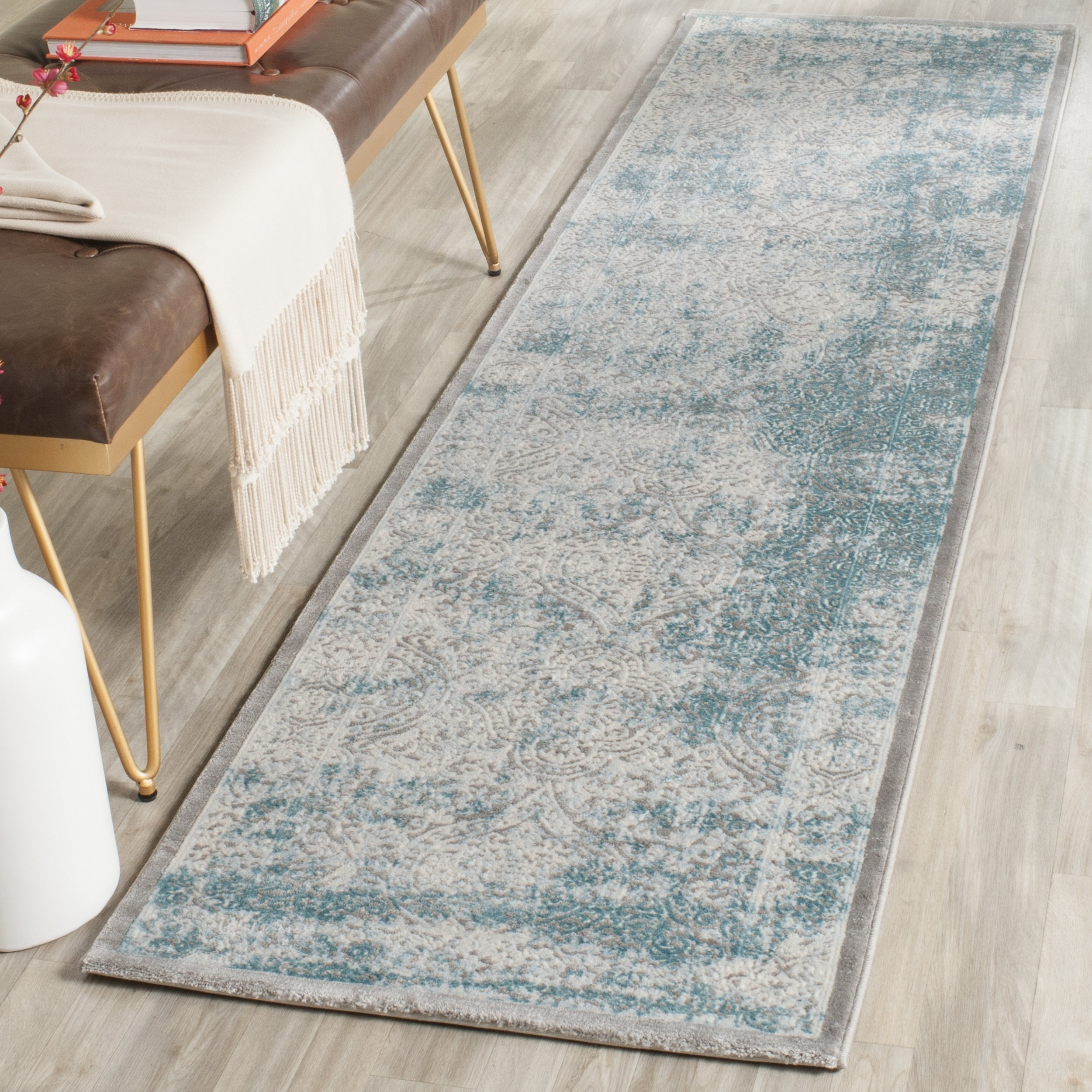 """Safavieh Passion Collection PAS402D Oriental Vintage Watercolor Grey and Green Distressed Runner 2'2"""" x 8' Grey"""