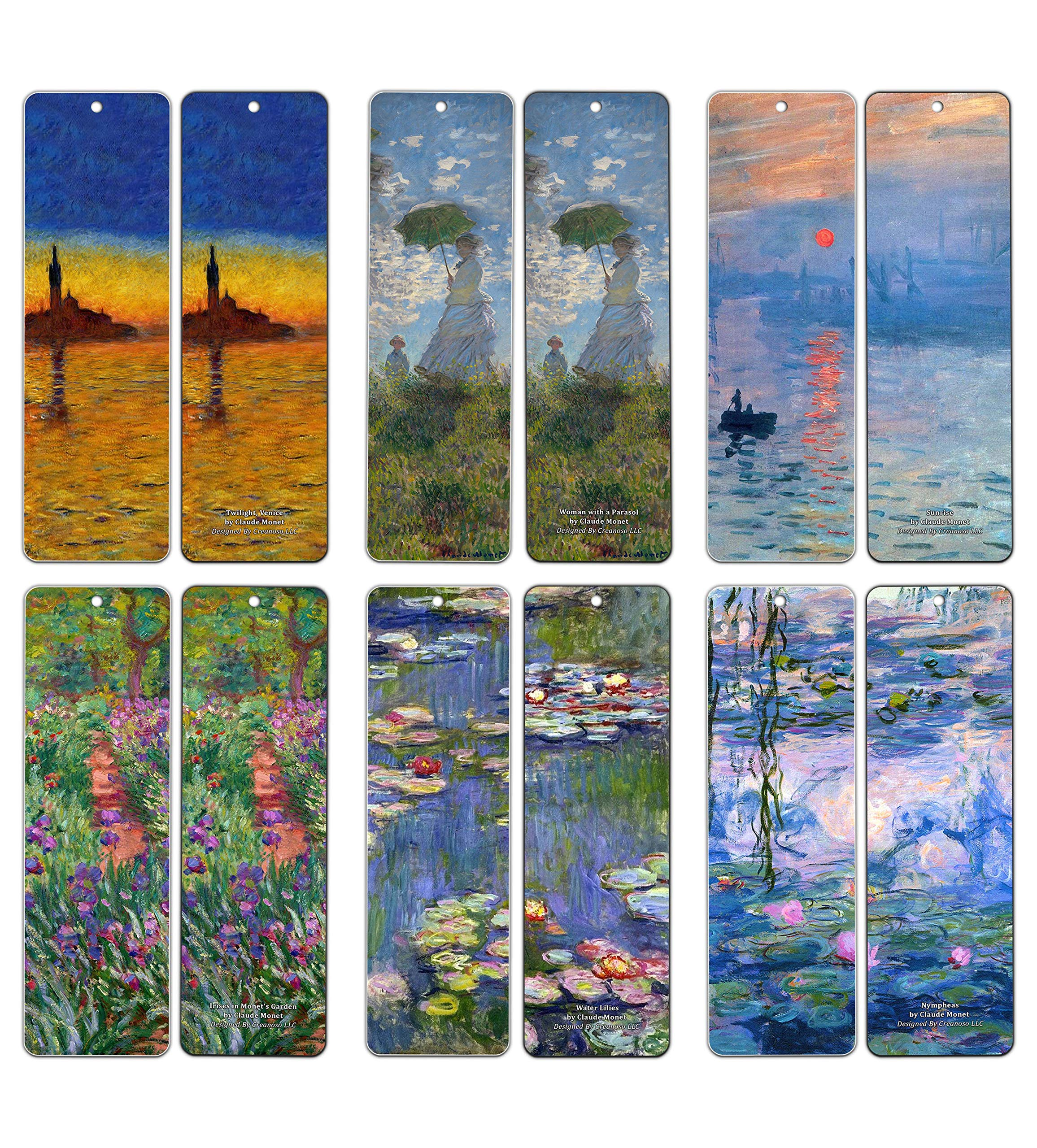 Claude Monet Bookmarks (60-Pack) - Famous Paintings Water Lilies - Bookmarks for Books Men Women Kids Boys Girls - Wall Decor