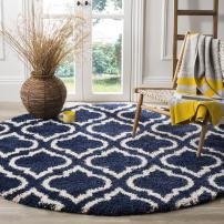 Safavieh Hudson Shag Collection SGH284C Navy and Ivory Moroccan Geometric Round Area Rug (7' Diameter)