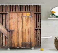 """Ambesonne Rustic Shower Curtain, Dated Simple Door Like in Construction Vertical Barns House Nobody Bohemian Print, Cloth Fabric Bathroom Decor Set with Hooks, 70"""" Long, Brown"""