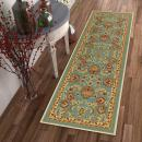 """Well Woven Non-Skid/Slip Rubber Back Antibacterial 3x12 (2'7"""" x 12' Runner) Rug Timeless Oriental Blue Traditional Classic Sarouk Thin Low Pile Machine Washable Indoor Outdoor Kitchen Hallway Entry"""