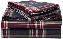 Tribeca Living HEPL170DPSSKI Heritage Plaid 5-Ounce Flannel Printed Extra Deep Pocket Sheet Set King Multi