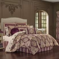 Five Queens Court Albina Woven Jacquard Luxury 4 Piece Comforter Set, Purple, King, 110x96