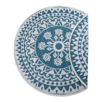 DII Contemporary Indoor/Outdoor Lightweight Reversible Fade Resistant Area Rug, Great For Patio, Deck, Backyard, Picnic, Beach, Camping, & BBQ, 5' Round, Blue Floral