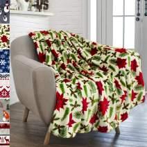 PAVILIA Christmas Throw Blanket   Poinsettia Flower Christmas Fleece Blanket   Soft, Plush, Warm Winter Cabin Throw, 50x60 (Poinsettia Cream)
