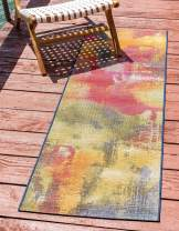 Unique Loom Outdoor Modern Collection Watercolor Abstract Transitional Indoor and Outdoor Flatweave Multi  Runner Rug (2' 0 x 6' 0)