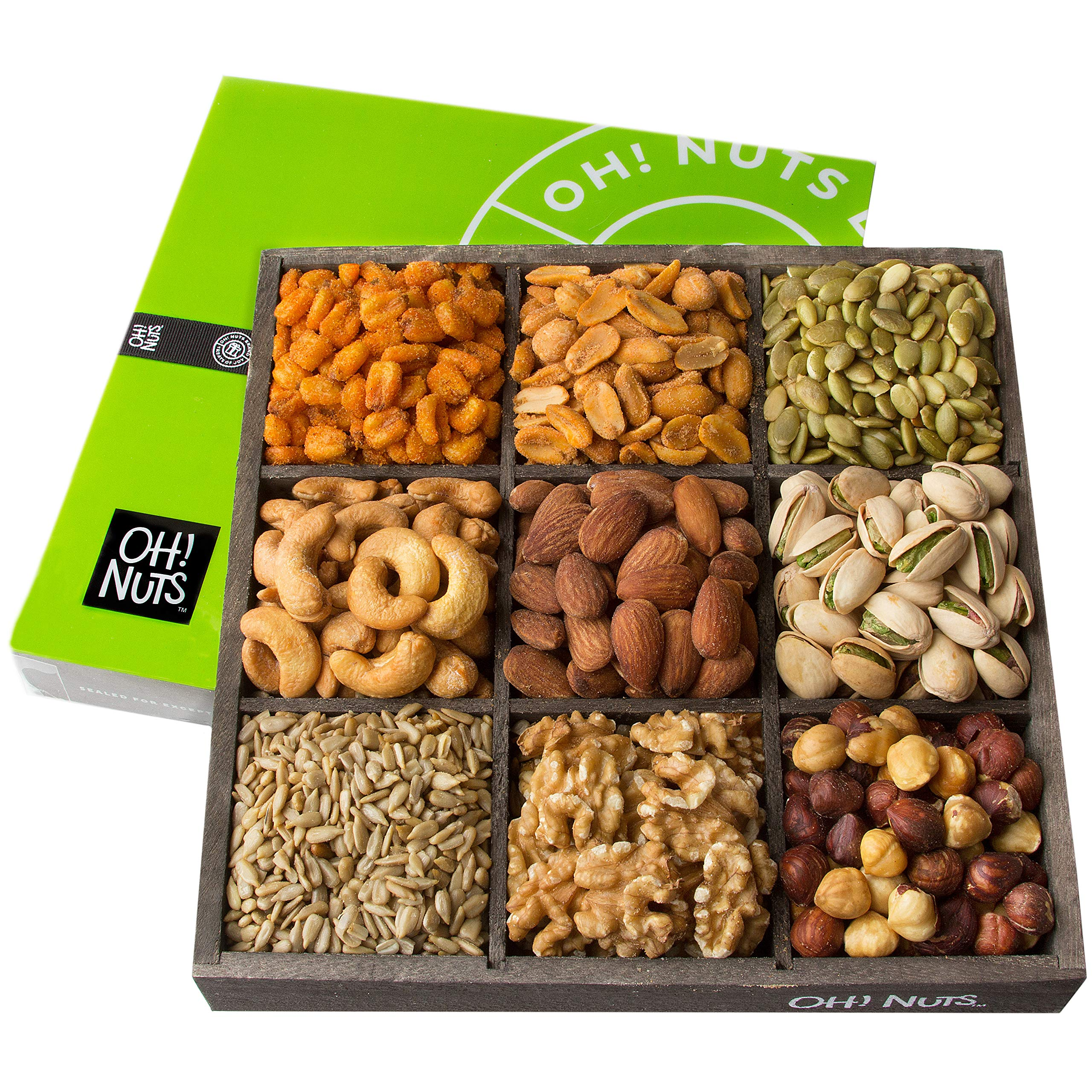 Oh! Nuts Holiday Nuts Gift Basket, 9 Variety Mixed Nut Assortment Wood Tray Baskets, Gourmet Christmas Roasted Healthy Fresh Food Care Package for Corporate, Mothers, Fathers Day or Thanksgiving