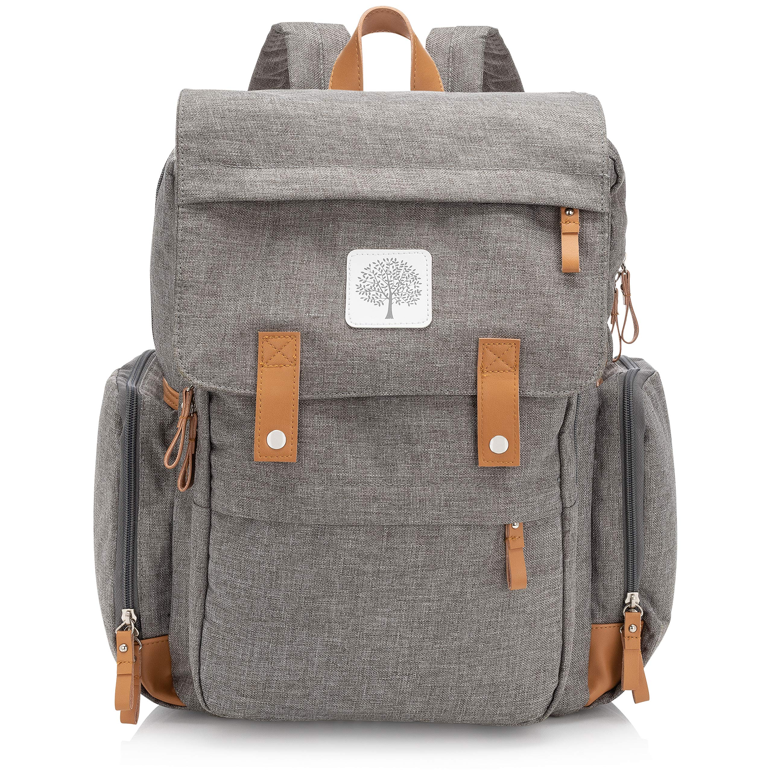 """Parker Baby Diaper Backpack - Large Diaper Bag with Insulated Pockets, Stroller Straps and Changing Pad -""""Birch Bag"""" - Gray"""