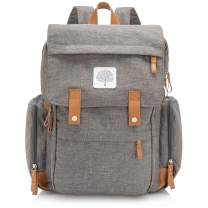 "Parker Baby Diaper Backpack - Large Diaper Bag with Insulated Pockets, Stroller Straps and Changing Pad -""Birch Bag"" - Gray"