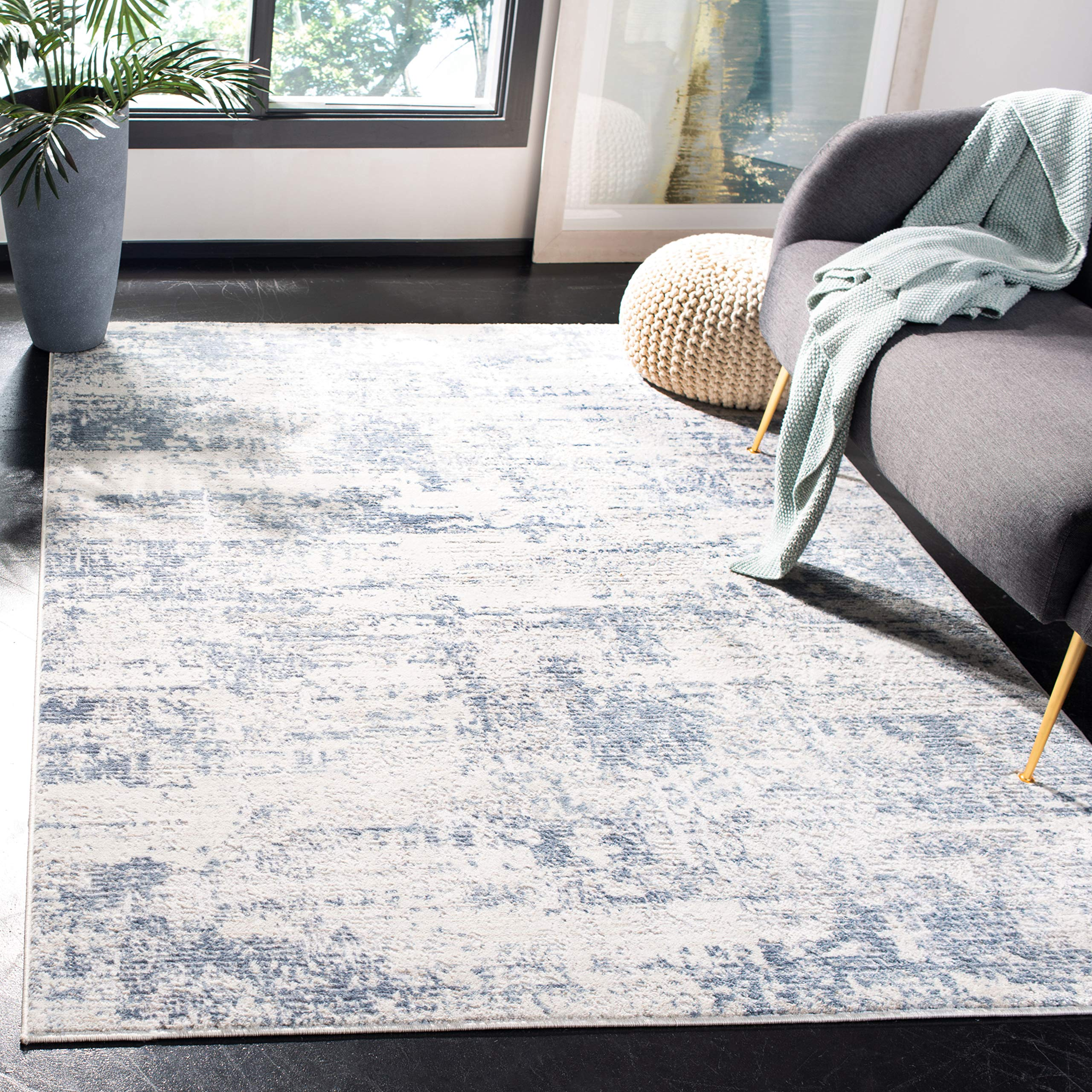 Safavieh Amelia Collection ALA700A Modern Contemporary Abstract Area Rug, 4' x 6', Ivory/Blue