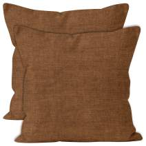 ENCASA Homes Chenille Throw Pillow Covers 2 pcs Set - Walnut Brown- 20 x 20 inch / 50 x 50 cm Textured Solid Colour, Soft & Smooth, Square Accent Decorative Cushion for Couch, Sofa, Chair & Bed
